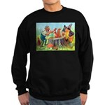 Gnomes Examine a Friendly Squirrel Sweatshirt (dar