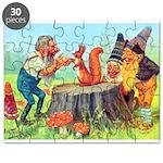 Gnomes Examine a Friendly Squirrel Puzzle