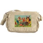 Gnomes Examine a Friendly Squirrel Messenger Bag
