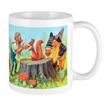 Gnomes Examine a Friendly Squirrel Mug