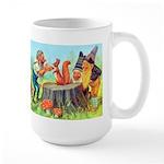 Gnomes Examine a Friendly Squirrel Large Mug