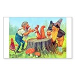 Gnomes Examine a Friendly Squirrel Sticker (Rectan