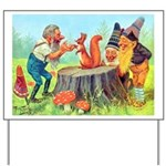 Gnomes Examine a Friendly Squirrel Yard Sign