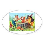 Gnomes Examine a Friendly Squirrel Sticker (Oval 1