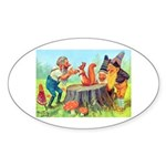 Gnomes Examine a Friendly Squirrel Sticker (Oval 5