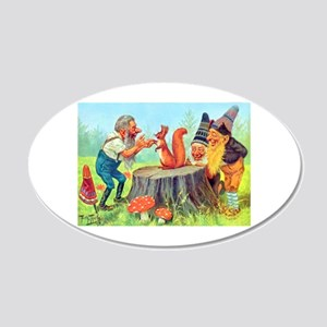 Gnomes Examine a Friendly Squirrel 20x12 Oval Wall