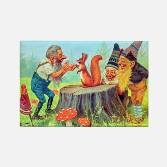 Gnomes Examine a Friendly Squirrel Rectangle Magne