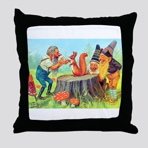 Gnomes Examine a Friendly Squirrel Throw Pillow