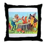 Gnomes Examine a Friendly Squirrel Throw Pillow