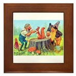 Gnomes Examine a Friendly Squirrel Framed Tile