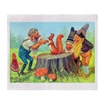 Gnomes Examine a Friendly Squirrel Throw Blanket