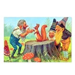 Gnomes Examine a Friendly Squirrel Postcards (Pack