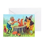 Gnomes Examine a Friendly Squirrel Greeting Cards