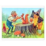Gnomes Examine a Friendly Squirrel Small Poster
