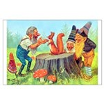 Gnomes Examine a Friendly Squirrel Large Poster