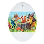 Gnomes Examine a Friendly Squirrel Ornament (Oval)