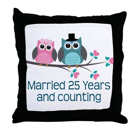 25th Anniversary Owls Throw Pillow
