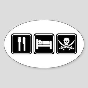Eat Sleep PIRATE Oval Sticker