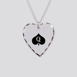 Queen of spades Necklace Heart Charm