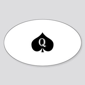 Queen of spades Sticker (Oval)