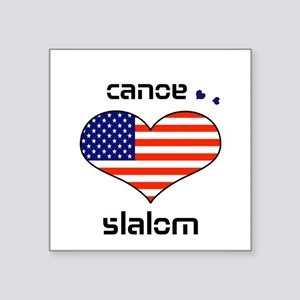LOVE canoe slalom Stars and Stripes Square Sticker