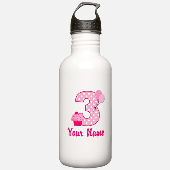 3rd Birthday Pink Cupcake Water Bottle