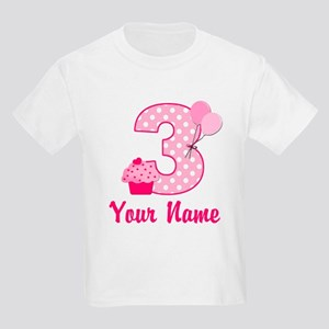 3rd Birthday Pink Cupcake Kids Light T Shirt