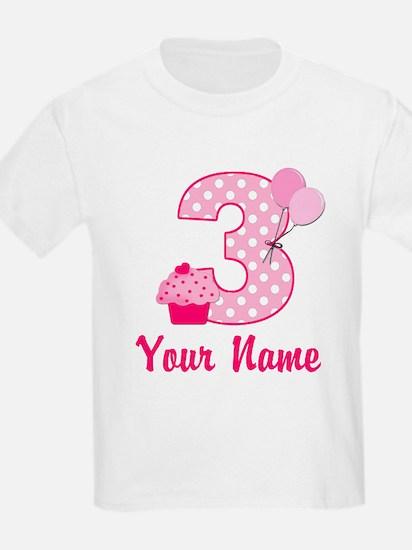 3rd Birthday Pink Cupcake T-Shirt