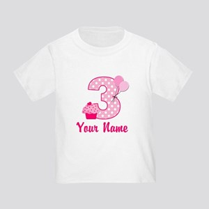3rd Birthday Pink Cupcake Toddler T-Shirt