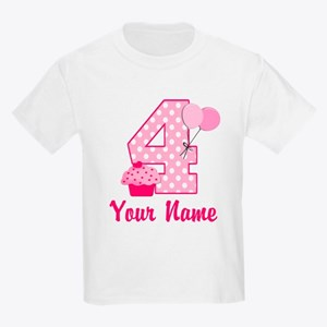 4th Birthday Pink Cupcake Kids Light T-Shirt