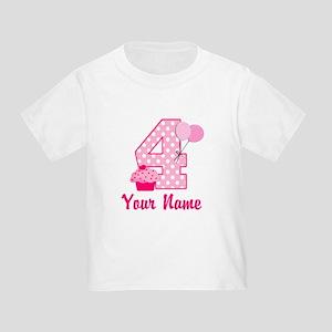4th Birthday Pink Cupcake Toddler T-Shirt