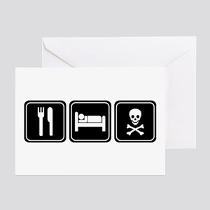 EAT SLEEP PIRATE Greeting Cards (Pk of 10)