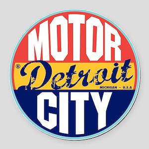 Detroit Vintage Label Round Car Magnet