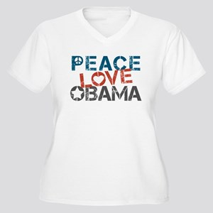 Peace Love Obama Women's Plus Size V-Neck T-Shirt