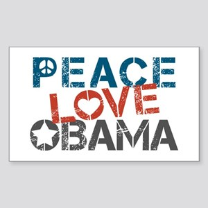 Peace Love Obama Sticker (Rectangle)