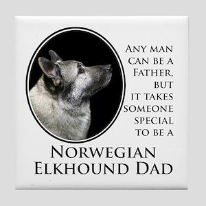 Elkhound Dad Tile Coaster