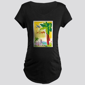 Los Angeles Travel Poster 2 Maternity Dark T-Shirt