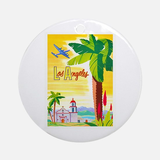 Los Angeles Travel Poster 2 Ornament (Round)