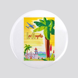 """Los Angeles Travel Poster 2 3.5"""" Button"""