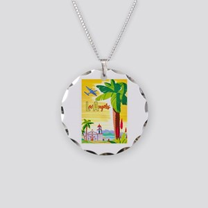Los Angeles Travel Poster 2 Necklace Circle Charm