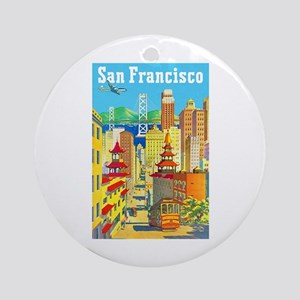 San Francisco Travel Poster 2 Ornament (Round)