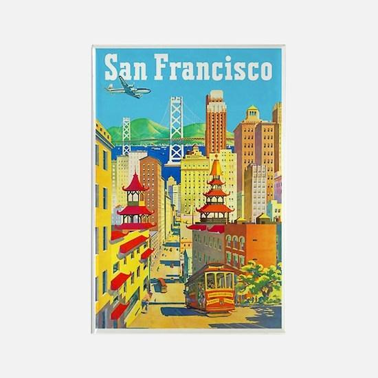 San Francisco Travel Poster 2 Rectangle Magnet (10