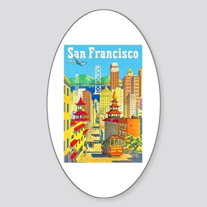 San Francisco Travel Poster 2 Sticker (Oval)