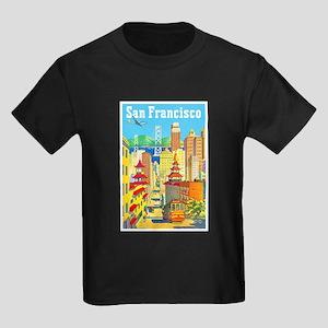 San Francisco Travel Poster 2 Kids Dark T-Shirt