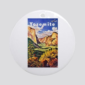 Yosemite Travel Poster 2 Ornament (Round)