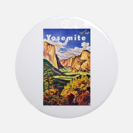 Yosemite Travel Poster 2 Ornament (Round)