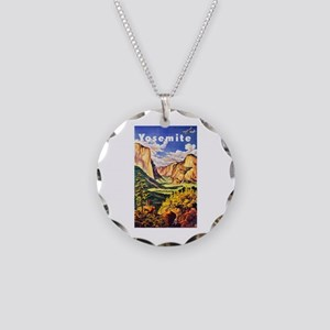 Yosemite Travel Poster 2 Necklace Circle Charm