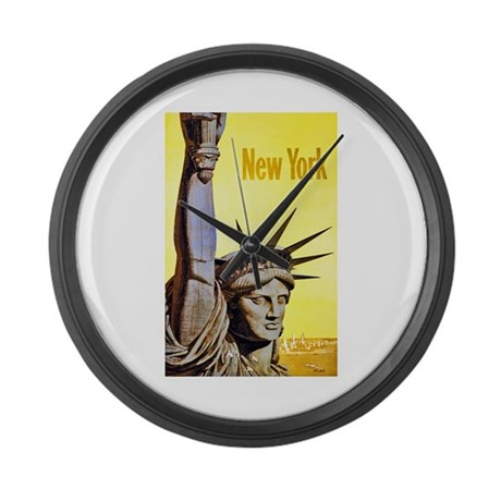 New York Travel Poster 4 Large Wall Clock