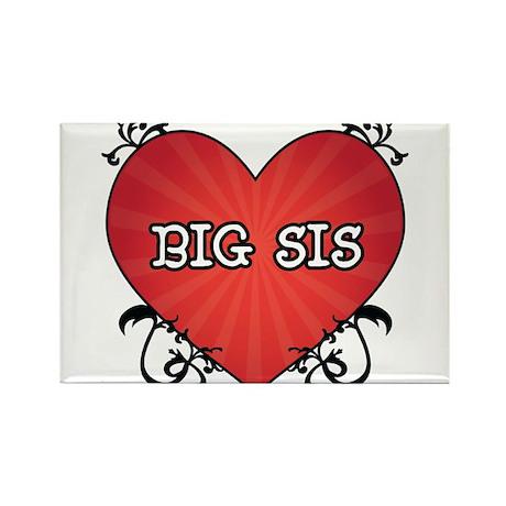 Tattoo Heart Big Sis Rectangle Magnet