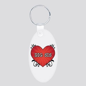 Tattoo Heart Big Sis Aluminum Oval Keychain